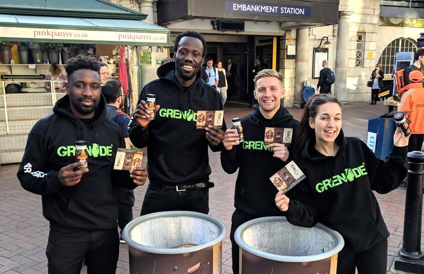 Tube station product sampling staff at Embankment