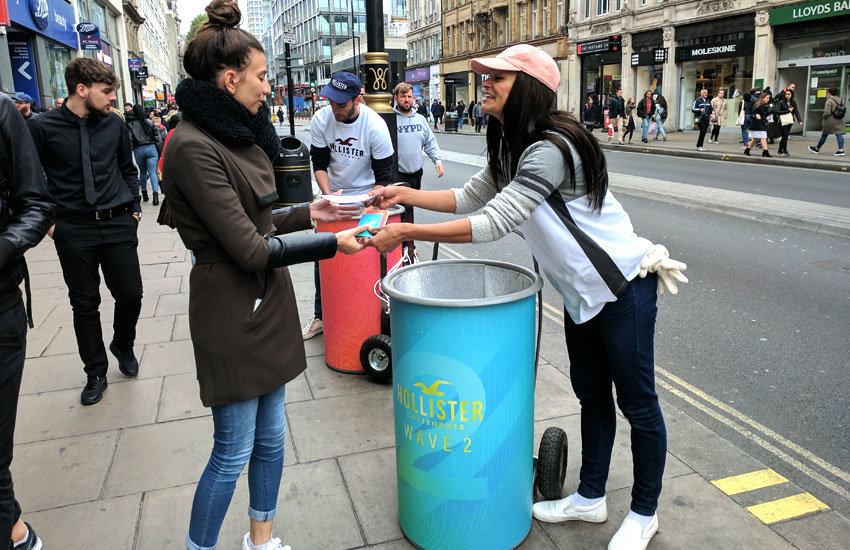 Hollister promo vehicle hire & sampling bin hire