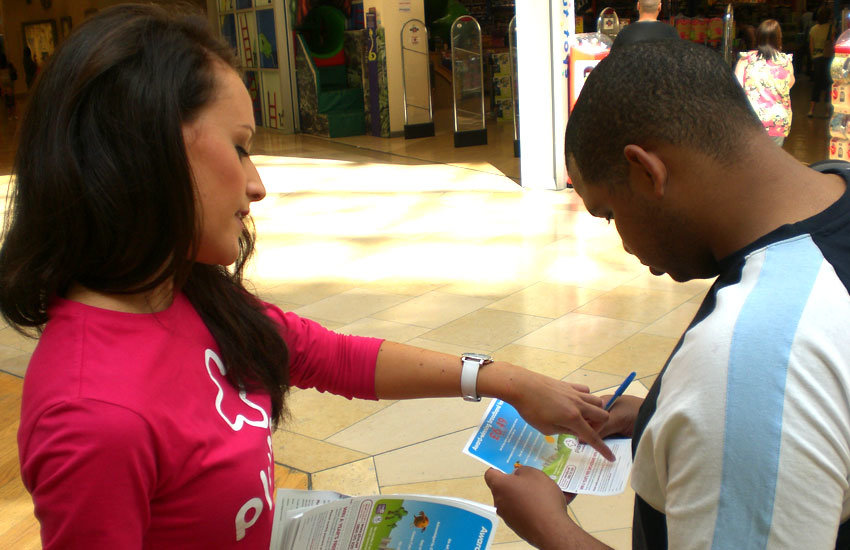 iMP staff collecting data for Plusnet in shopping centres.