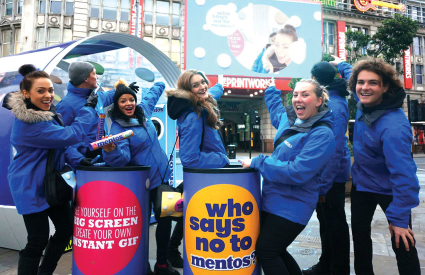 Mentos city centre product sampling activation in Manchester