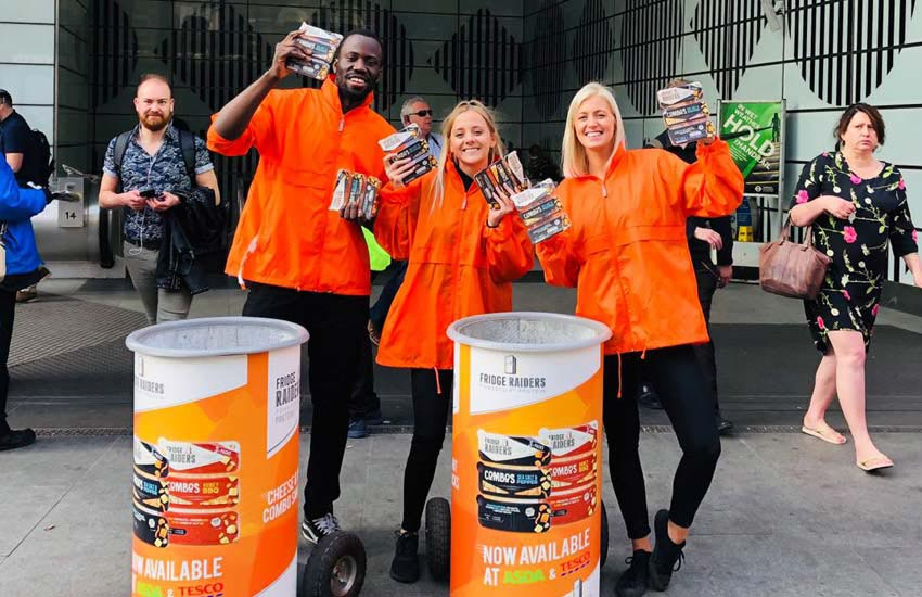 Some of our sampling staff in the city centre for Fridge Raiders Combos
