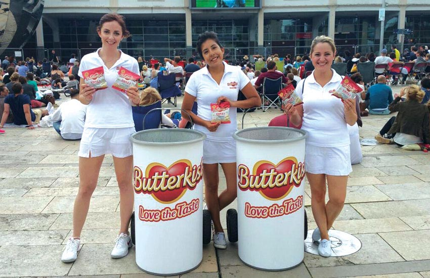 Consumer and shopper sample distribution campaign for Butterkist