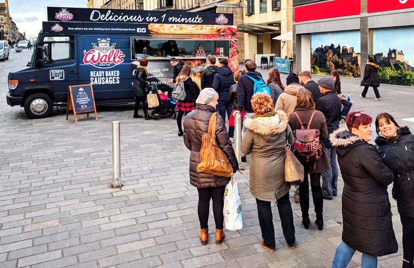 Huge queues for our 48 city sampling tour experiential activation for Wall's Sausages
