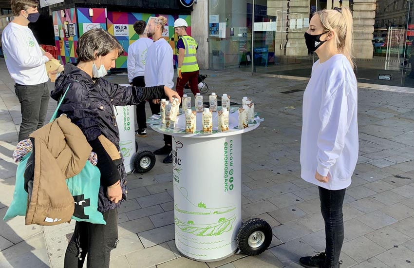 Non-contact product sampling campaign