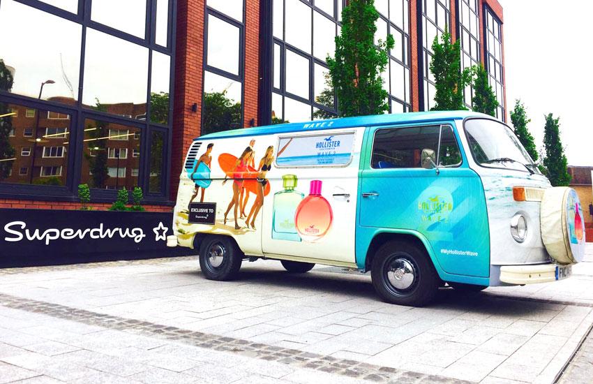 Product sampling Camper van for Hollister
